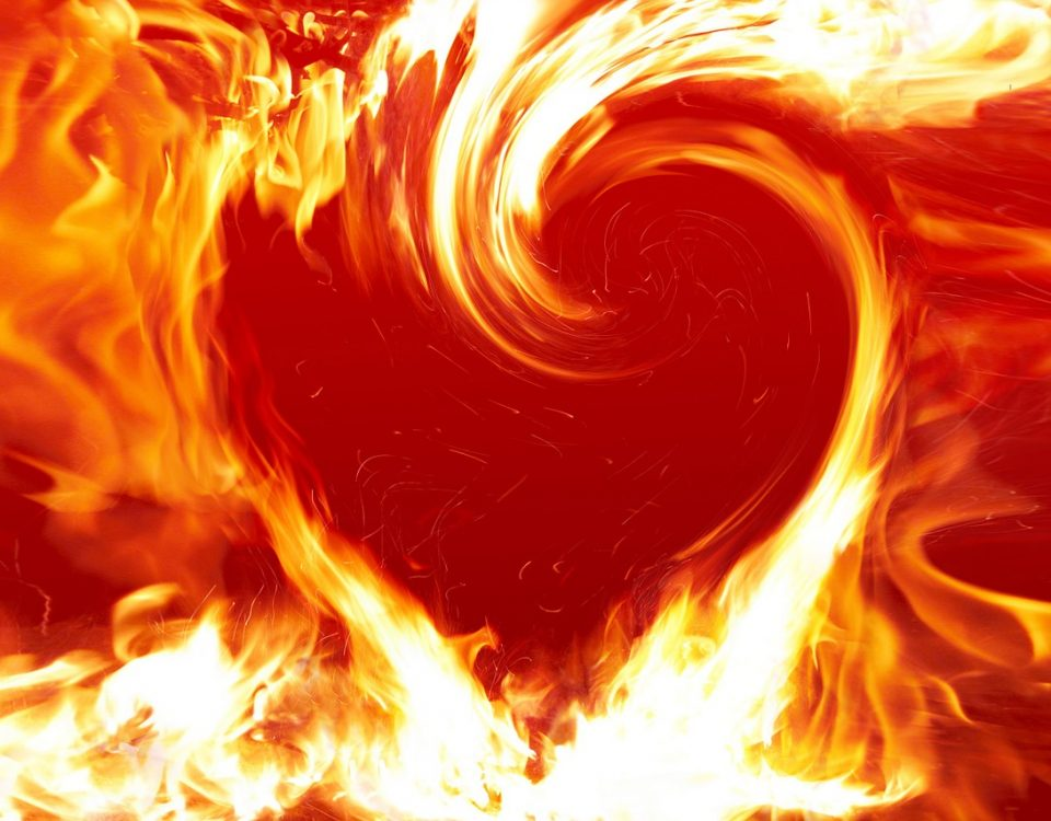 flames in heart shape
